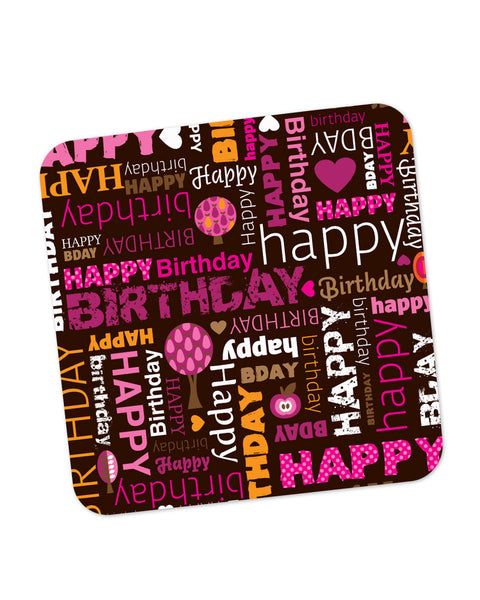 Buy Coasters Online | Happy Birthday Pattern Coaster Online India | PosterGuy.in