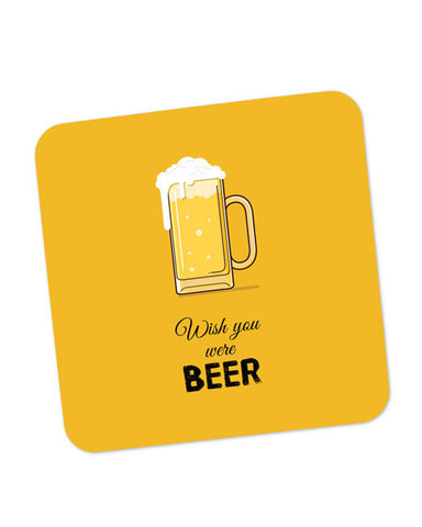 Buy Coasters Online | Wish You Were Beer | (Black) Coaster Online India | PosterGuy.in