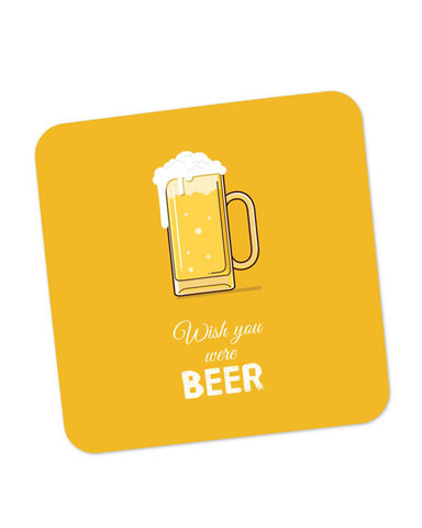 Buy Coasters Online | Wish You Were Beer | (White) Coaster Online India | PosterGuy.in