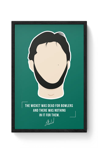 Framed Posters Online India | Shahid Afridi Illustration Laminated Framed Poster Online India