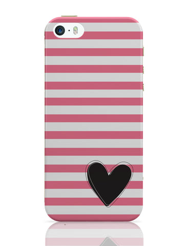 iPhone 5 / 5S Cases & Covers | Pink Stripes With Heart iPhone 5 / 5S Case Online India