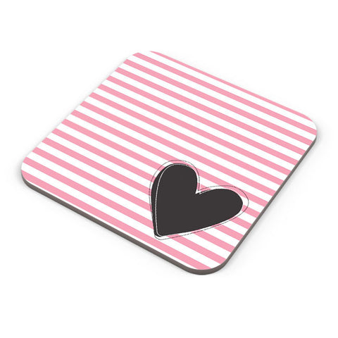 Buy Coasters Online | Pink Stripes With Heart Coaster Online India | PosterGuy.in