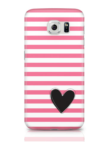 Samsung Galaxy S6 Covers | Pink Stripes With Heart Samsung Galaxy S6 Covers Online India