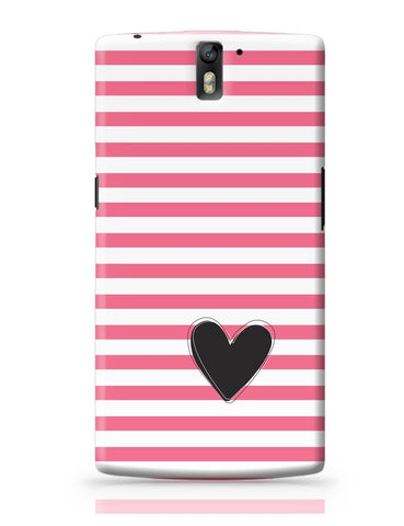 OnePlus One Covers | Pink Stripes With Heart OnePlus One Cover Online India