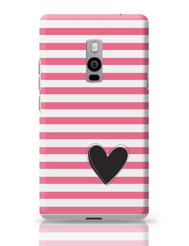 OnePlus Two Covers | Pink Stripes With Heart OnePlus Two Cover Online India