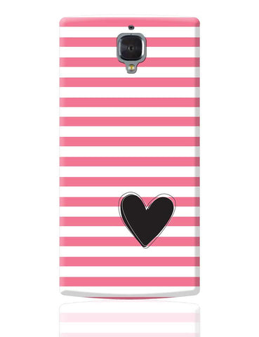 Pink Stripes With Heart OnePlus 3 Cover Online India