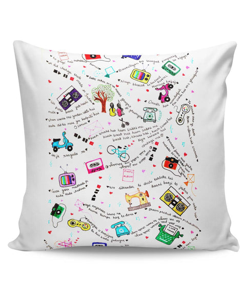 PosterGuy | Bollywood Lyrics Collage Cushion Cover Online India