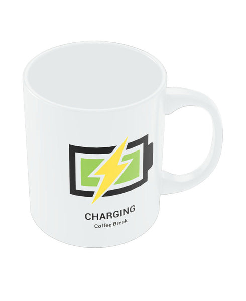 Coffee Mug Ceramic Stay Charged Battery Green