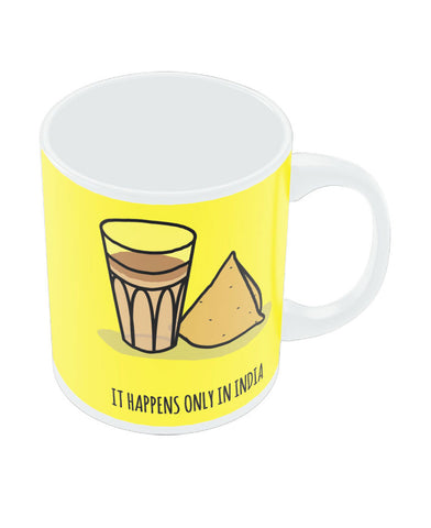 PosterGuy It Happens Only in India Tea and Samosa White Coffee Ceramic Mug
