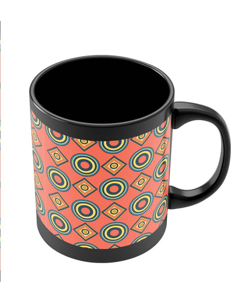 Coffee Mugs Online | Abstract Circle Rings Pattern Black Coffee Mug Online India