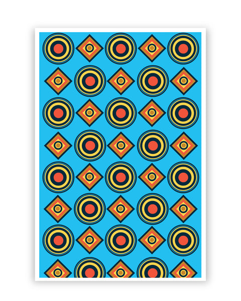 Posters Online | Abstract Circle Rings Pattern (Blue) Poster Online India | Designed by: Vaibhav Designs