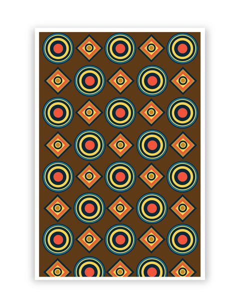 Posters Online | Abstract Tribal Circle Rings Pattern (Brown) Poster Online India | Designed by: Vaibhav Designs