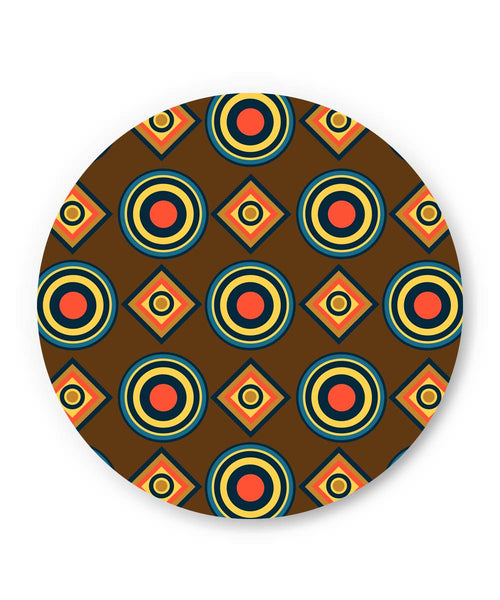 PosterGuy | Abstract Tribal Circle Rings Pattern (Brown) Fridge Magnet Online India by Vaibhav Designs