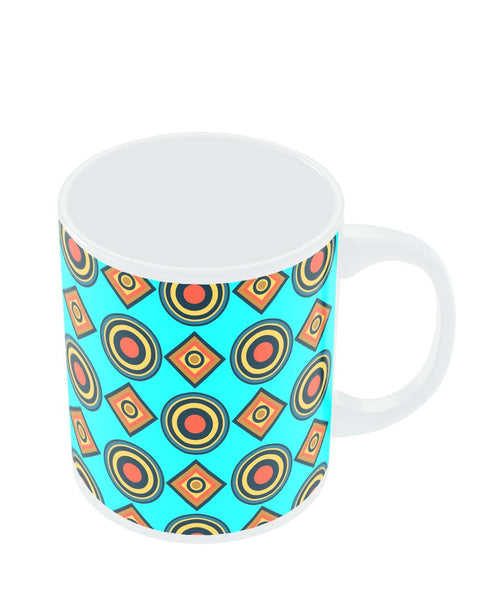 Coffee Mugs Online | Abstract Tribal Circle Rings Pattern (Sky Blue) Mug Online India