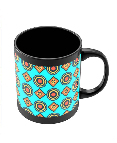 Coffee Mugs Online | Abstract Tribal Circle Rings Pattern (Sky Blue) Black Coffee Mug Online India
