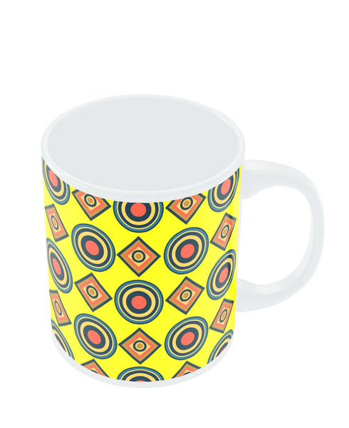 Coffee Mugs Online | Abstract Tribal Circle Rings Pattern (Yellow) Mug Online India