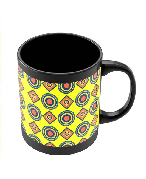 Coffee Mugs Online | Abstract Tribal Circle Rings Pattern (Yellow) Black Coffee Mug Online India