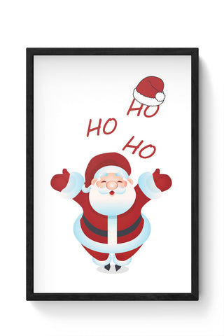 Framed Posters Online India | Santa Claus Ho-Ho-Ho Illustration Laminated Framed Poster Online India