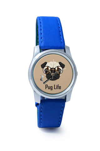 Women Wrist Watch India | Pug Life Funny Dog illustration Wrist Watch Online India