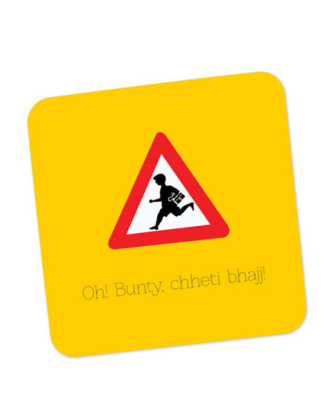 Buy Coasters Online | Oh Bunty! Chetti Bhajj | Road Signs For Punjabis Coaster Online India | PosterGuy.in