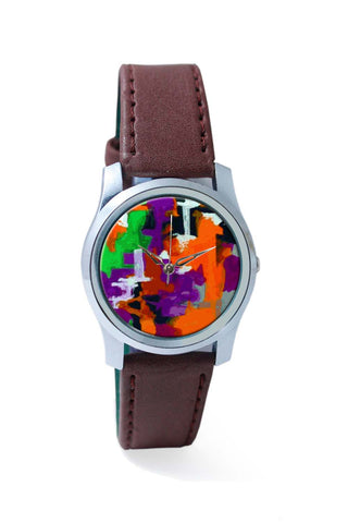 Women Wrist Watch India | Abstract Art Orange Splash Wrist Watch Online India