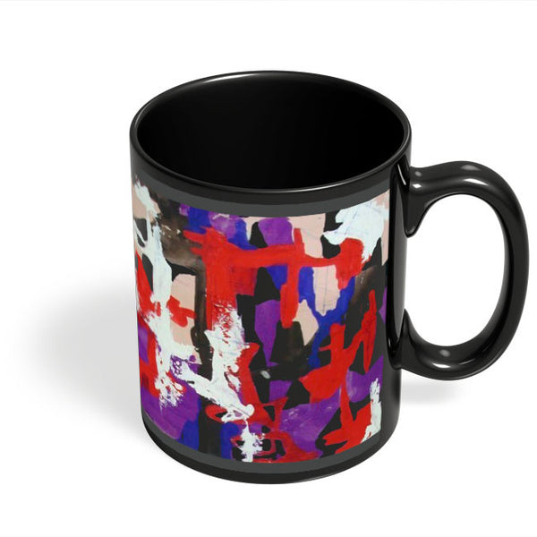 Coffee Mugs Online | Red Asbtract Art Pattern Black Coffee Mug Online India