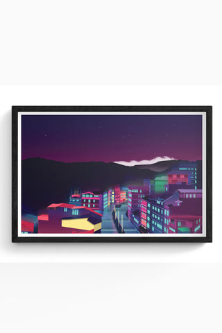 Framed Posters Online India | Gangtok Night Life Laminated Framed Poster Online India