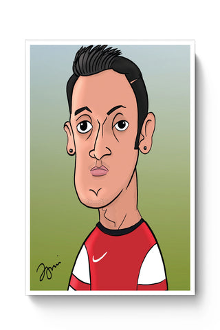 Posters Online | Mezut Ozil Caricature Illustration Poster Online India | Designed by: Jigmi