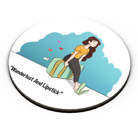 PosterGuy | Wanderlust And Lipstick Fridge Magnet Online India by Gauraang Pant