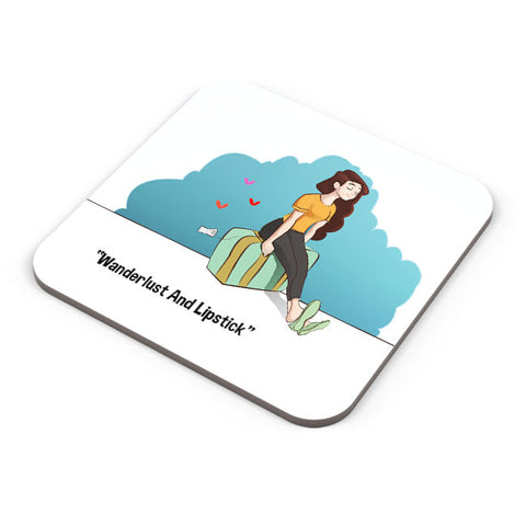Buy Coasters Online | Wanderlust And Lipstick Coaster Online India | PosterGuy.in