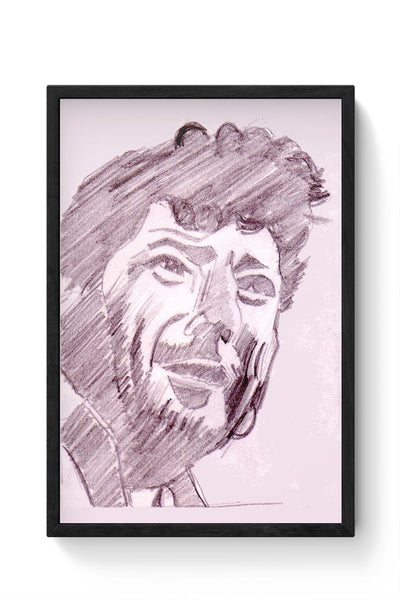 Framed Posters Online India | Amjad Khan Sketch Painting | Sketch Painting Laminated Framed Poster Online India