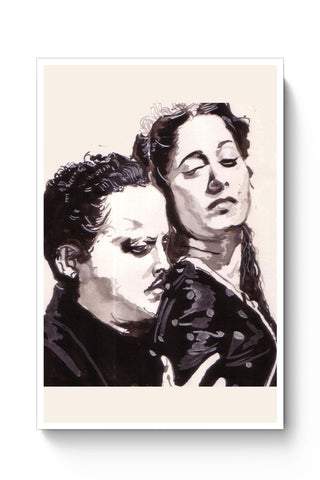Posters Online | Guru Dutt And Waheeda Rehman | Sketch Painting Poster Online India | Designed by: HeartAtArt