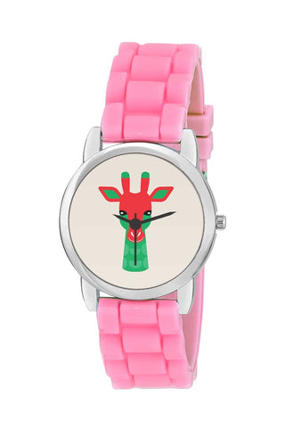 Kids Wrist Watch India | Awesome Giraffe Red & Green Colors Illustration Art Kids Wrist Watch Online India
