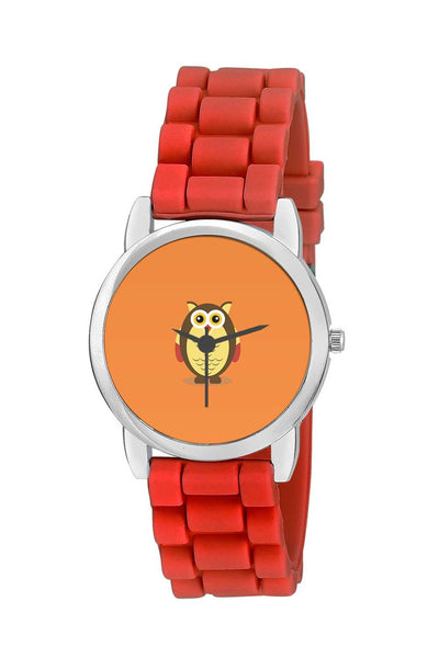 Kids Wrist Watch India | Awesome Owl Illustration Art With Orange Background Kids Wrist Watch Online India