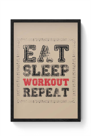 Framed Posters Online India | Eat Sleep Workout Repeat Framed Poster Online India