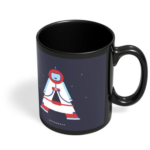 Alphabet People - Astronaut Black Coffee Mug Online India