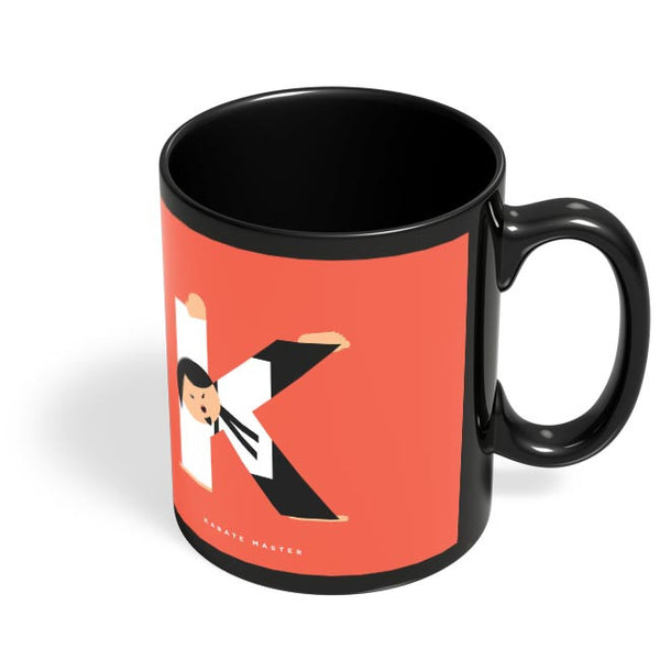 Alphabet People - Karate Master Black Coffee Mug Online India