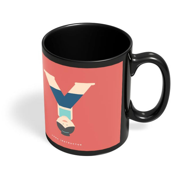 Alphabet People - Yoga Instructor Black Coffee Mug Online India