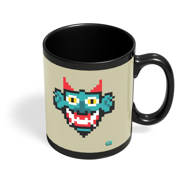 Pixelated Raakshasa Minimal Black Coffee Mug Online India