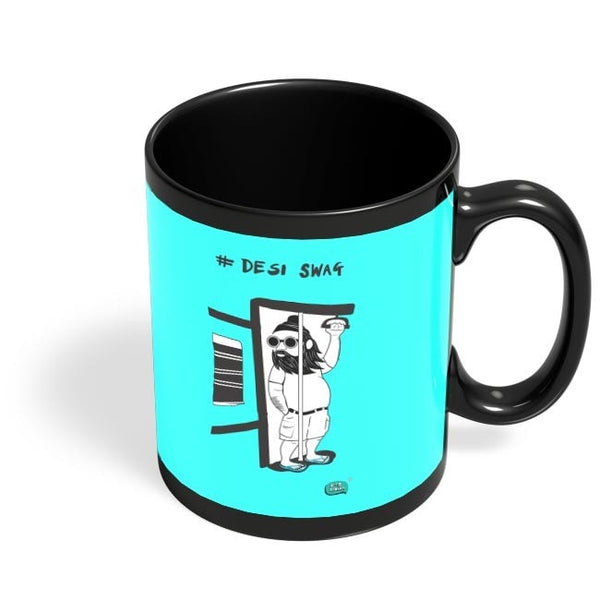 Desi Swag Illustration  Black Coffee Mug Online India