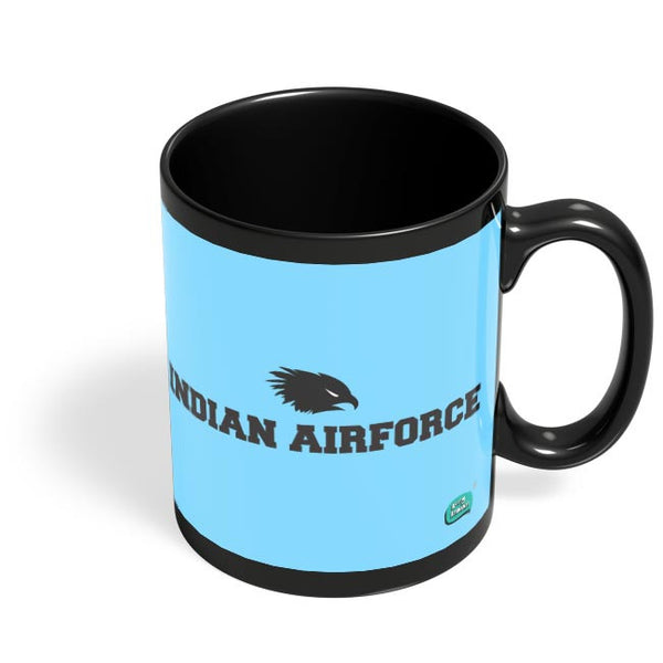 Indian Air Force Typographic Illustration Black Coffee Mug Online India