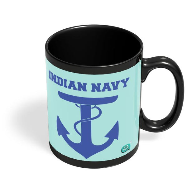 Indian Navy Symbol Minimalist Illustration Black Coffee Mug Online India