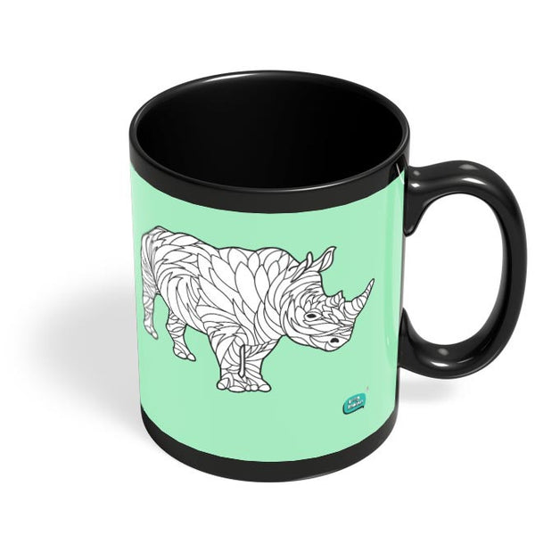 Rare Rhinocorous Portrait Black Coffee Mug Online India