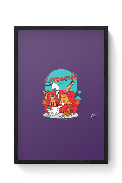 Catoholic Quirky Cats Illustration Framed Poster Online India