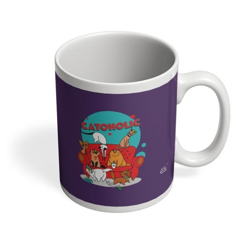Catoholic Quirky Cats Illustration Coffee Mug Online India