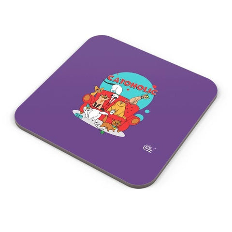 Catoholic Quirky Cats Illustration Coaster Online India