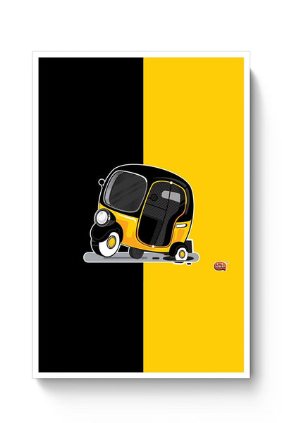 Auto Rickshaw in pot Hole | Typical Mumbai Poster Online India