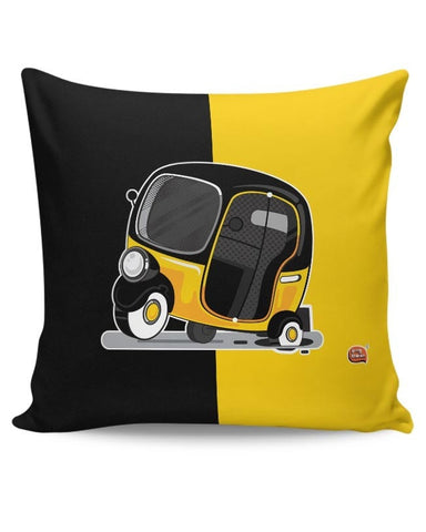 Auto Rickshaw in pot Hole | Typical Mumbai Cushion Cover Online India
