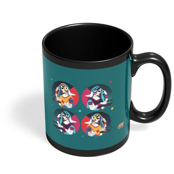 Bass Rani DJ desi girl Illustration Black Coffee Mug Online India