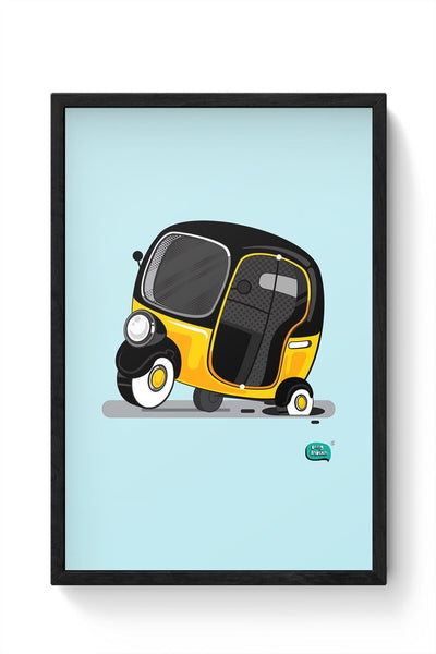 Auto Rickshaw in pot Hole | Typical Mumbai Framed Poster Online India